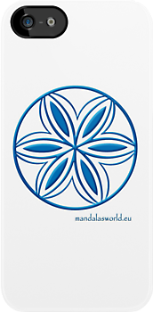 Buddhist Flower Blue Mandala n1  by Mandala's World