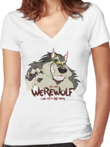 You Say Werewolf Like It's a Bad Thing, Ver. 2.0 (Light Colors) Women's Fitted V-Neck T-Shirt