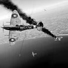 303 Squadron Spitfires in Channel dogfight B&W by Gary Eason