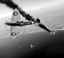 303 Squadron Spitfires in Channel dogfight B&W by Gary Eason + Flight Artworks