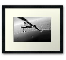 303 Squadron Spitfires in Channel dogfight B&W Framed Print