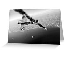 303 Squadron Spitfires in Channel dogfight B&W Greeting Card