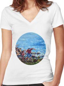 Ocean Fun Women's Fitted V-Neck T-Shirt