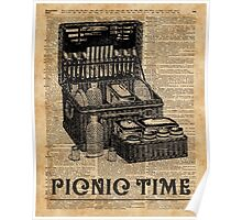 Picnic Time Vintage Illustration Dictionary Book Page Art Poster