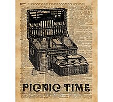 Picnic Time Vintage Illustration Dictionary Book Page Art Photographic Print