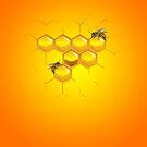 Bees and honeycomb by Ragcity