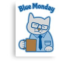 Blue Monday Hipster Cat Office Worker Canvas Print