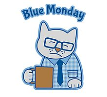 Blue Monday Hipster Cat Office Worker Photographic Print