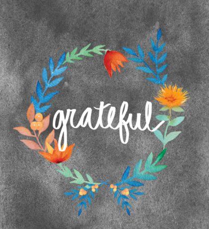 Grateful, watercolor floral wreath Sticker