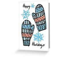 doodle winter mittens knitting crochet Christmas Greeting Card