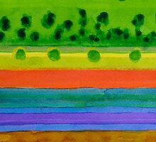 Plain with red Field by Heidi Capitaine