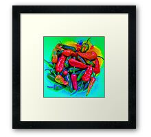 Psychedelic Chillies Framed Print