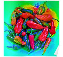 Psychedelic Chillies Poster