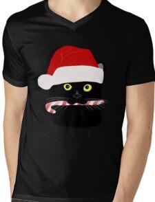 Christmas Cat Closeup Mens V-Neck T-Shirt