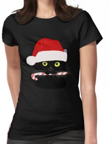Christmas Cat Closeup Womens Fitted T-Shirt