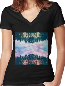 Trippy rainbow forest Women's Fitted V-Neck T-Shirt