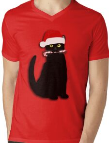 Christmas Cat Mens V-Neck T-Shirt