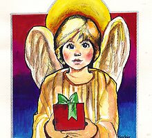 Child, Angel in gold with gift by Gillian Sinclair