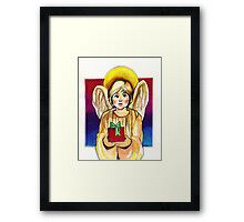 Child, Angel in gold with gift Framed Print