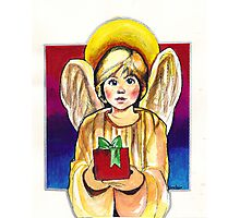 Child, Angel in gold with gift Photographic Print