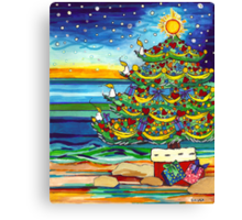 Christmas tree With Stars and Beach Canvas Print