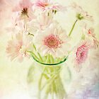 Pink Gerberas In A Vase {Painted Look Version} by Nicola  Pearson