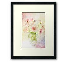 Pink Gerberas In A Vase {Painted Look Version} Framed Print