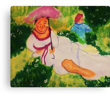 Resting while her child plays, watercolor Canvas Print