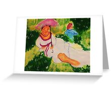Resting while her child plays, watercolor Greeting Card