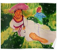 Resting while her child plays, watercolor Poster