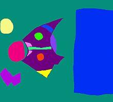 Green Board Purple Bird Blue Sky Yellow Moon by masabo