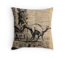 Dinosaurs in Forest Vintage Dictionary Art Illustration Throw Pillow