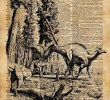 Dinosaurs in Forest Vintage Dictionary Art Illustration by DictionaryArt