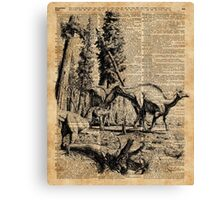 Dinosaurs in Forest Vintage Dictionary Art Illustration Canvas Print