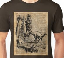 Dinosaurs in Forest Vintage Dictionary Art Illustration Unisex T-Shirt