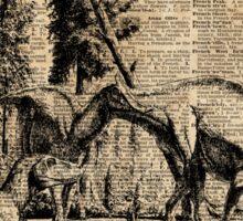 Dinosaurs in Forest Vintage Dictionary Art Illustration Sticker