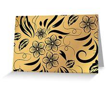 Gold Floral Metallic Pattern Greeting Card