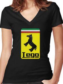 The Lego Ferrari Logo Women's Fitted V-Neck T-Shirt