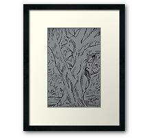 Fineliner pen drawing of a tree Framed Print