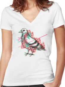 Party Pigeon Women's Fitted V-Neck T-Shirt