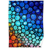 Abstract 2 - Colorful Blue Mosaic Abstract Art Print Poster