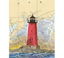 Manistique Lighthouse MI Nautical Chart Cathy Peek Photographic Print