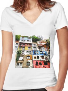 Hundertwasser House Women's Fitted V-Neck T-Shirt