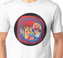 girl with birds drinking water Unisex T-Shirt
