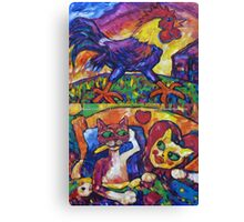 Cocky Rooster And Cat Romance Canvas Print