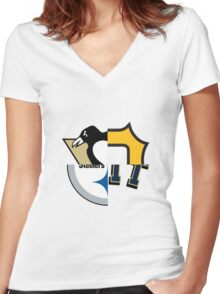 Pittsburgh Team Quarters Women's Fitted V-Neck T-Shirt