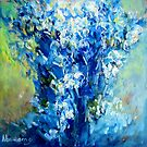 Abstract Blue Flowers by Bob Abrahams