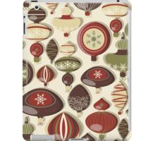Retro Vintage Holiday Christmas Ornaments Pattern iPad Case/Skin