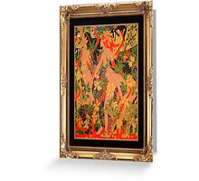 Goddess of The Hunt In Ornate Gold Border Greeting Card