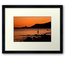 Lonely Fisherman At Sunset Framed Print